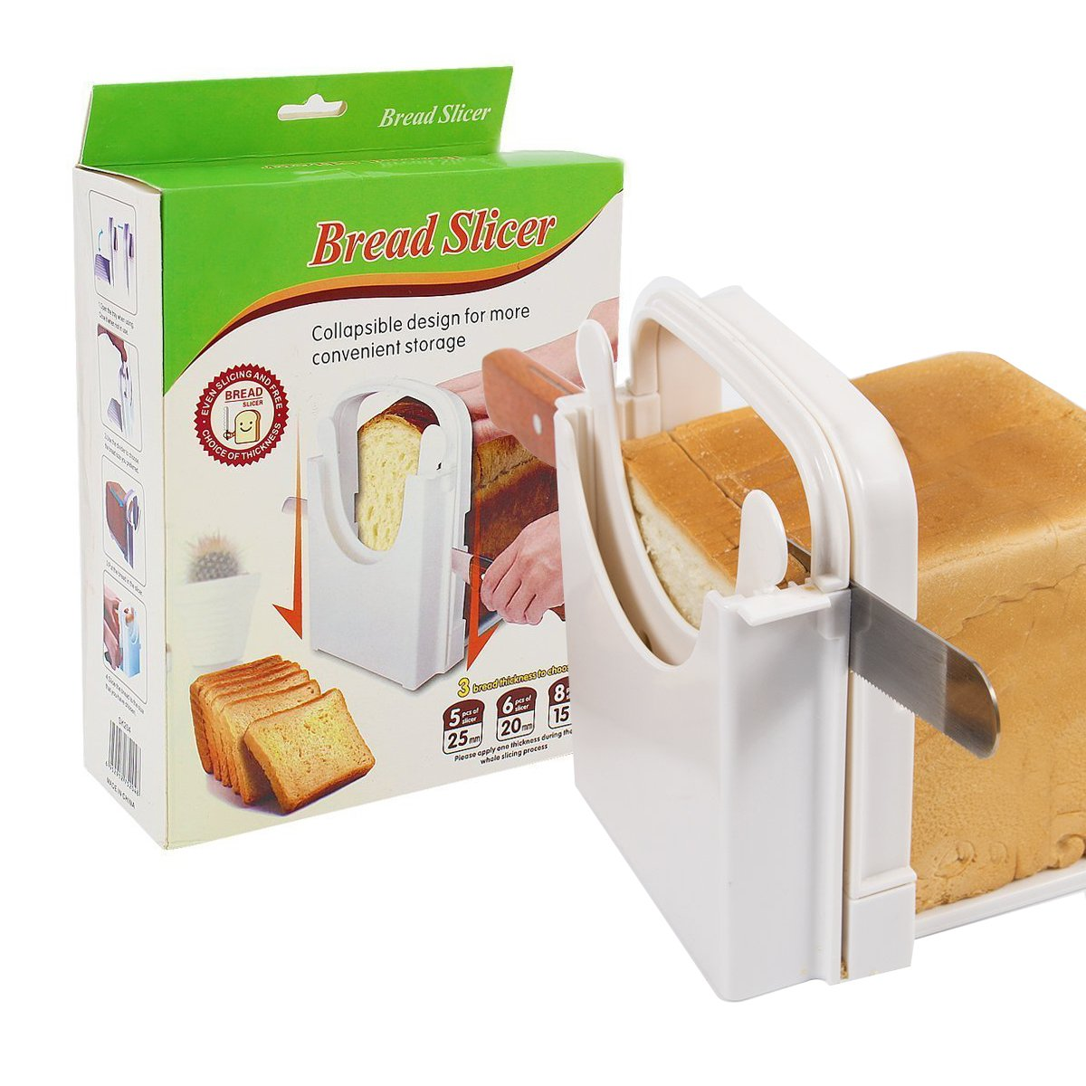 Bread Slicer Customization Toast Slicer Loaf Slicer Cutter for Homemade Bread ABS Environmentally Friendly Plastic Foldable, Bread Cutting Guide and Adjustable with 4 Slice Thicknesses,White