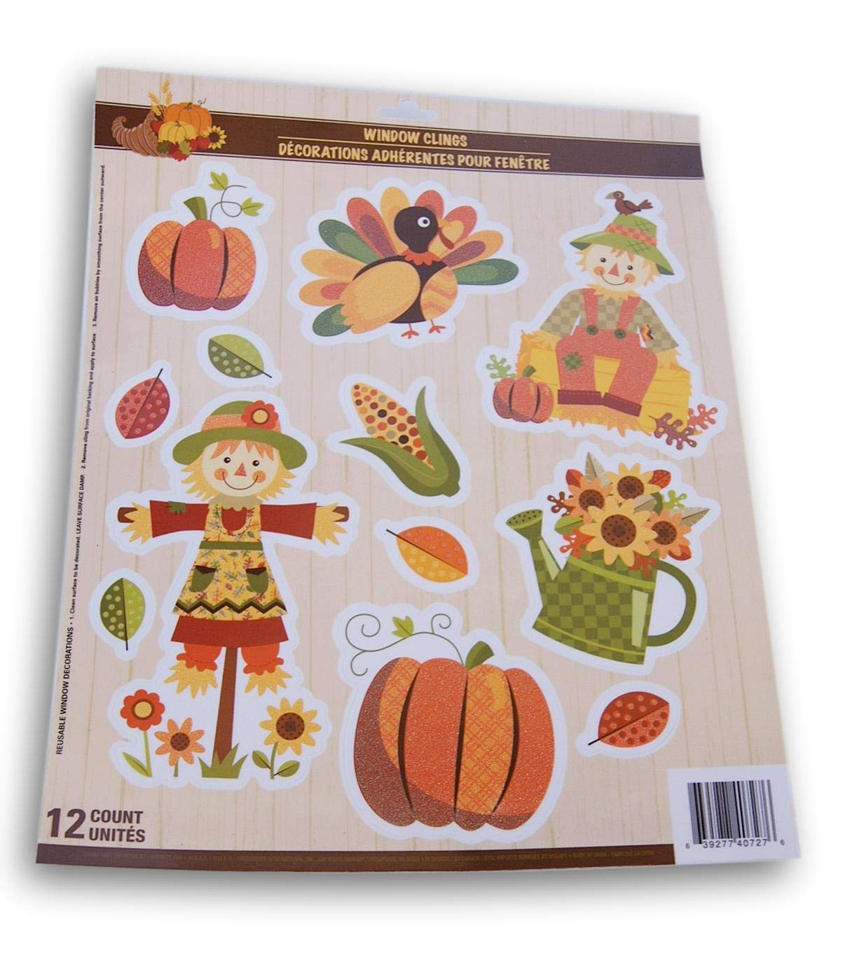 Autumn Fall Thanksgiving Themed Window Cling Set 12 Piece Fantastic Fall Scarecrows and Harvest