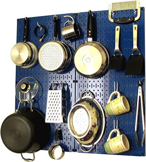 Amazon Com Wall Control Kitchen Pegboard Organizer Pots And Pans Pegboard Pack Storage And Organization Kit With Blue Pegboard And White Accessories Home Kitchen