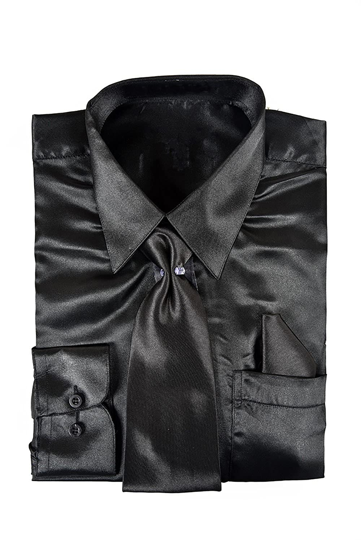 e66dada4 Amazon.com: Classy Men's Satin Shiny Black Shirt Set + Matching Tie ...