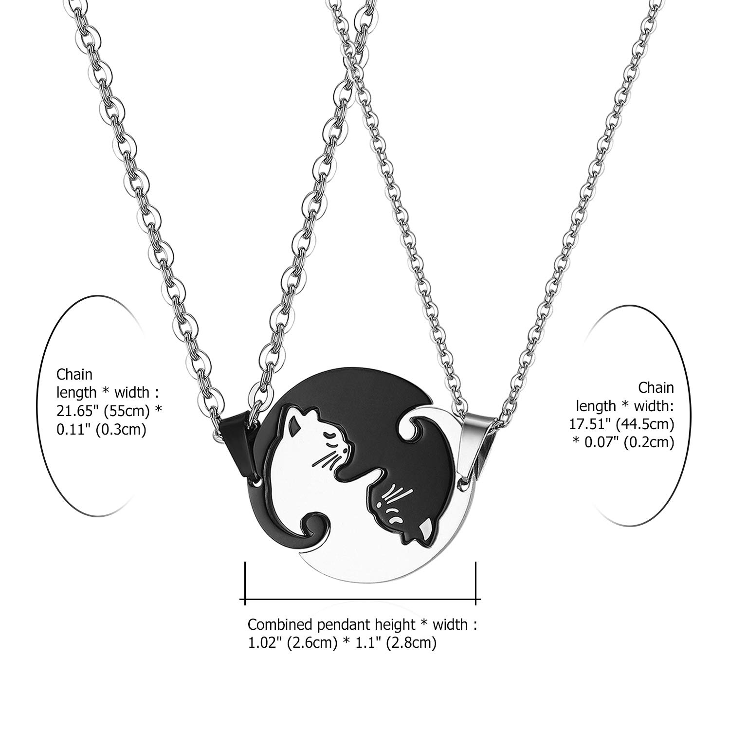 bd3da5196a Amazon.com: Stainless Steel His Hers Yin Yang Pet Cat Puzzle Pendant  Necklace for Couples Valentines Day Gifts,with Gift Bag: Clothing