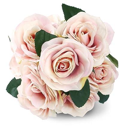 Bouquet Sposa Fucsia.Soledi 10 Testa Francese Rose Composizione Di Fiori Di Seta Artificiale Bouquet Da Sposa Da Salotto Home Garden Decor Fucsia