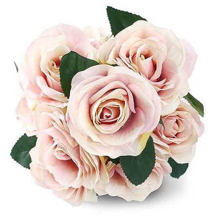 Bouquet Sposa Fucsia.Soledi 10 Testa Francese Rose Composizione Di Fiori Di Seta