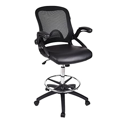 Fine Drafting Chair Tall Office Chair For Adjustable Standing Desks With Flip Up Arm In Black Pu Ncnpc Chair Design For Home Ncnpcorg
