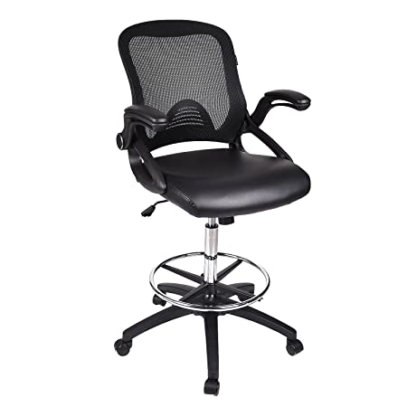 Home Office Drafting Chair Brown Leather Swivel Lumbar Support Ergonomic Mesh Back Arm Rest Chrome Foot Rest SGS Gas Lift Folding Extra Large 360 Base Computer Multi-Task BIFMA Black PU
