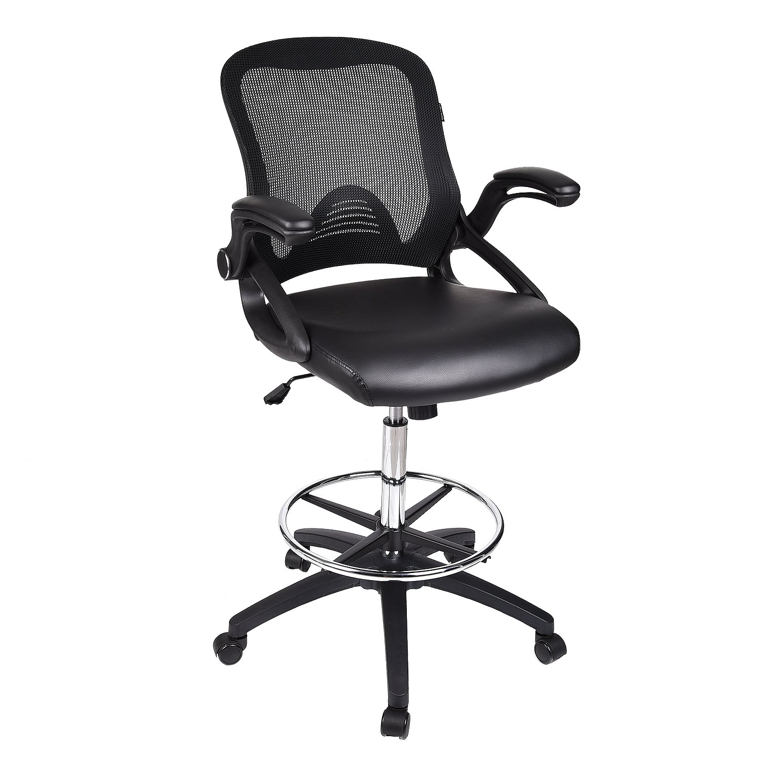 Drafting Chair Tall Office Chair for Adjustable Standing Desks with Flip-up Arm in Black PU