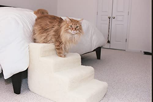 Pet Stairs Petstairz 4 Step High Density Foam Pet Step and Pet Stair with Beige Removable and Washable High Curly Pile Shearling Cover for Pets up to 40 Lbs. Please Take Into Consideration Your Pets Health, Agility. Gate Stability, Paw Length and weight prior to Ordering. Please Call Us with Any Questions or Concerns Prior to Ordering for proper guidance and Remember to Measure Your Placement Area Carefully