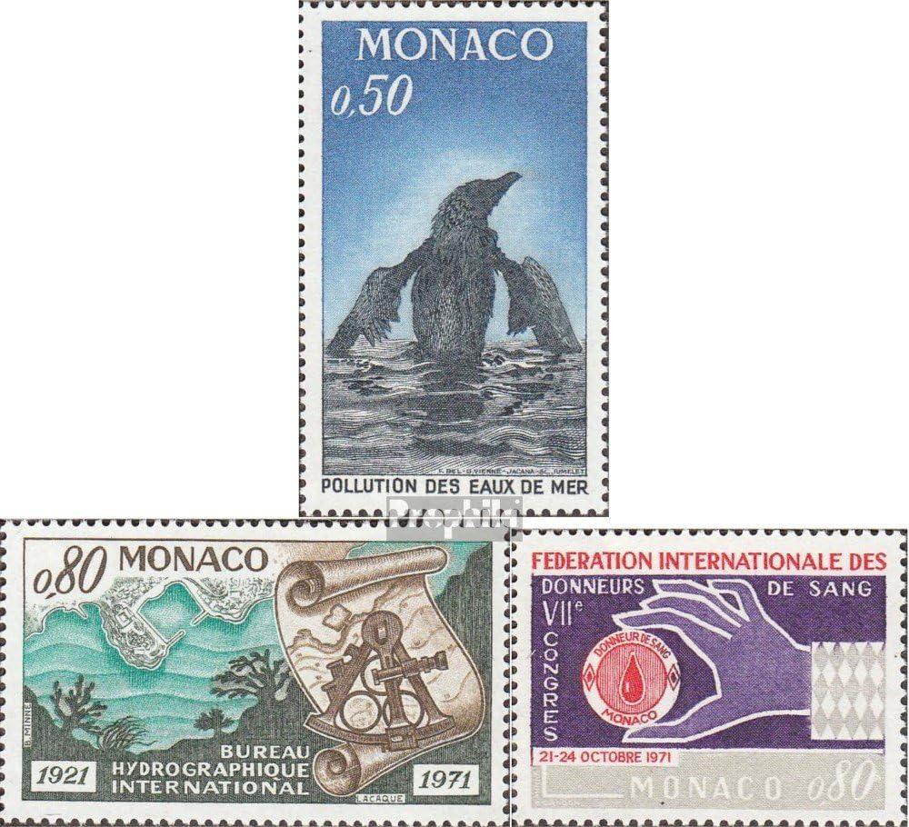1971 Eau Blutspender Sant/é compl/ète.Edition. hydrographie Timbres pour Les collectionneurs Monaco mer.-no.: 1009,1010,1011