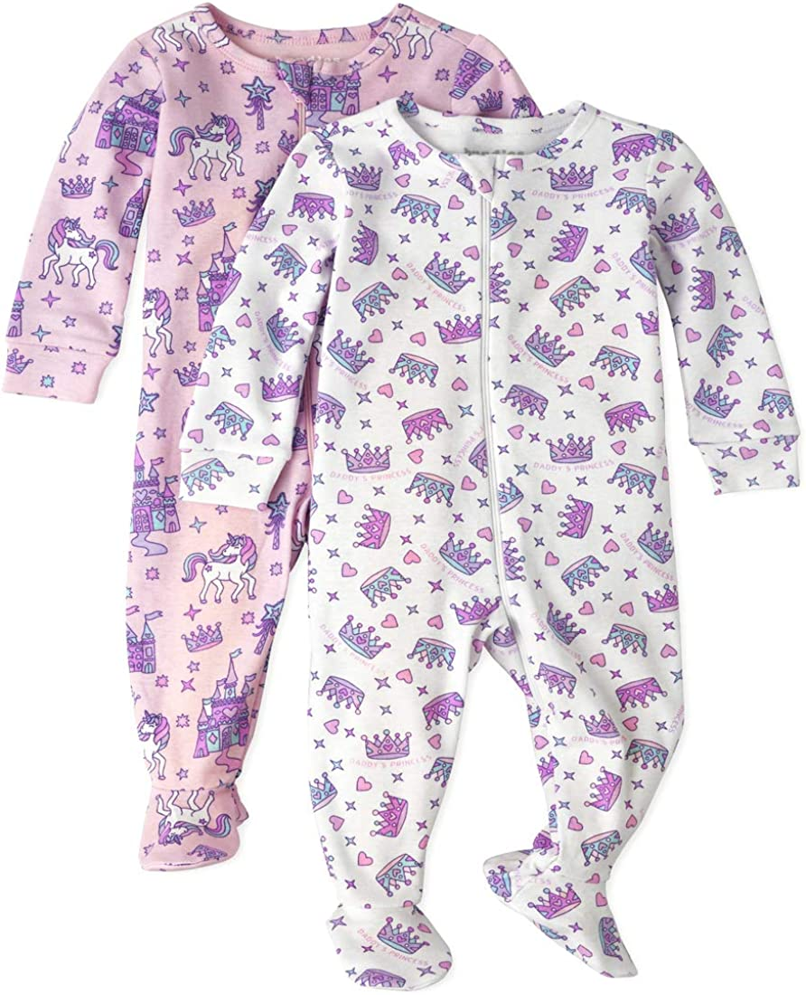 The Childrens Place Baby Girls Printed Stretchie Pack of Two