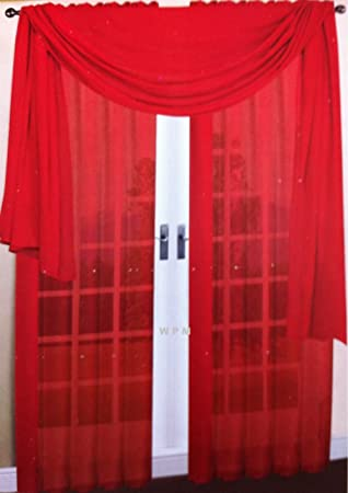 Amazon.com: 3 Piece Red Sheer Voile Curtain Panel Set: 2 Red ...