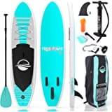 SereneLife Inflatable Stand Up Paddle Board (6 Inches Thick) with Premium SUP Accessories & Carry Bag   Wide Stance…