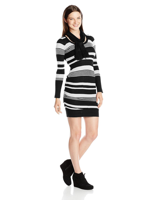Derek Heart Juniors Scarf Stripe Sweater Dress