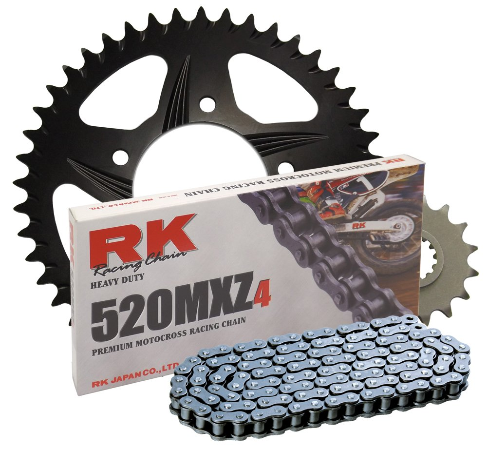 RK Racing Chain 4022-078ZB Black Aluminum Rear Sprocket and 520MXZ4 Chain Race Kit