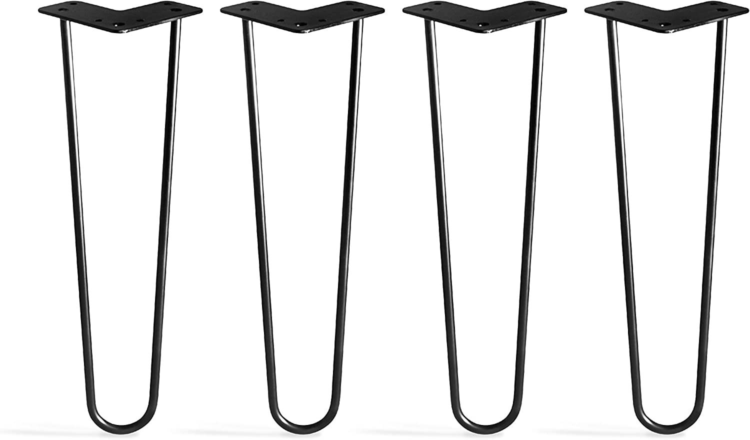 "TEN49 Heavy Duty 16"" Hairpin Legs - Set of 4 Satin Black - Industrial Strength - Home DIY Projects - Mid-Century Modern Steel Leg for Furniture (Beds & Cabinets, Sofa, Coffee Tables, TV Stands)"