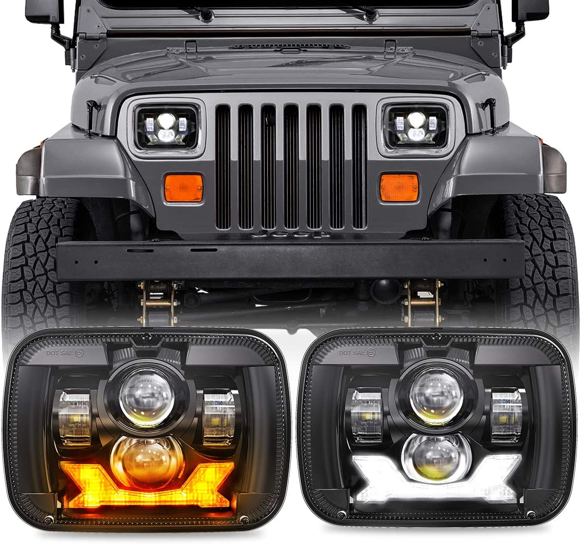 Free Shipping Cheap Bargain Gift Sealed Beam Headlamp 5x7 7x6 inch Halo DRL Turn Headlights With Large special price !!