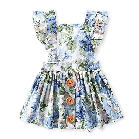 Las niñas de algodón de manga corta vestidos Infant Toddler Baby ...