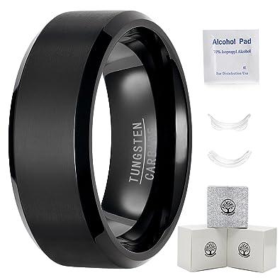 Mens Black Wedding Bands 8mm Tungsten Carbide Rings For Men Wedding