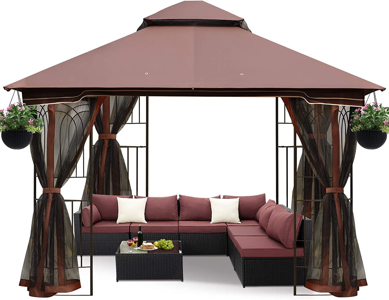 ECOTOUGE 10FT Outdoor Gazebo for Patios, Double Waterproof Soft-top Canopy, Garden Tent with Netting for Party, Backyard, Chocolate