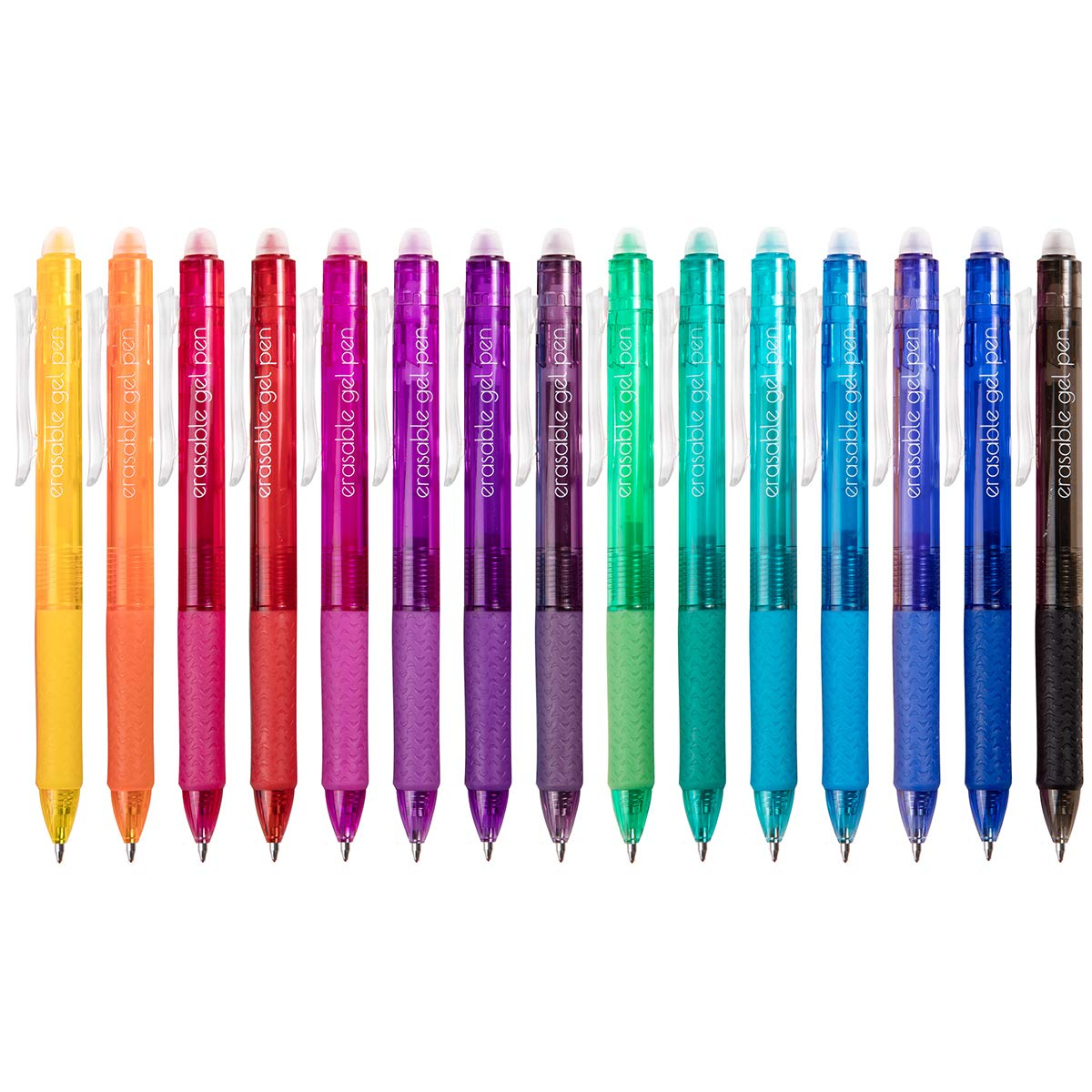 Erasable Gel Pens, 15 Colors Lineon Retractable Erasable Pens Clicker, Fine Point, Make Mistakes Disappear, Assorted Color Inks for Drawing Writing Planner and Crossword Puzzles by Lineon