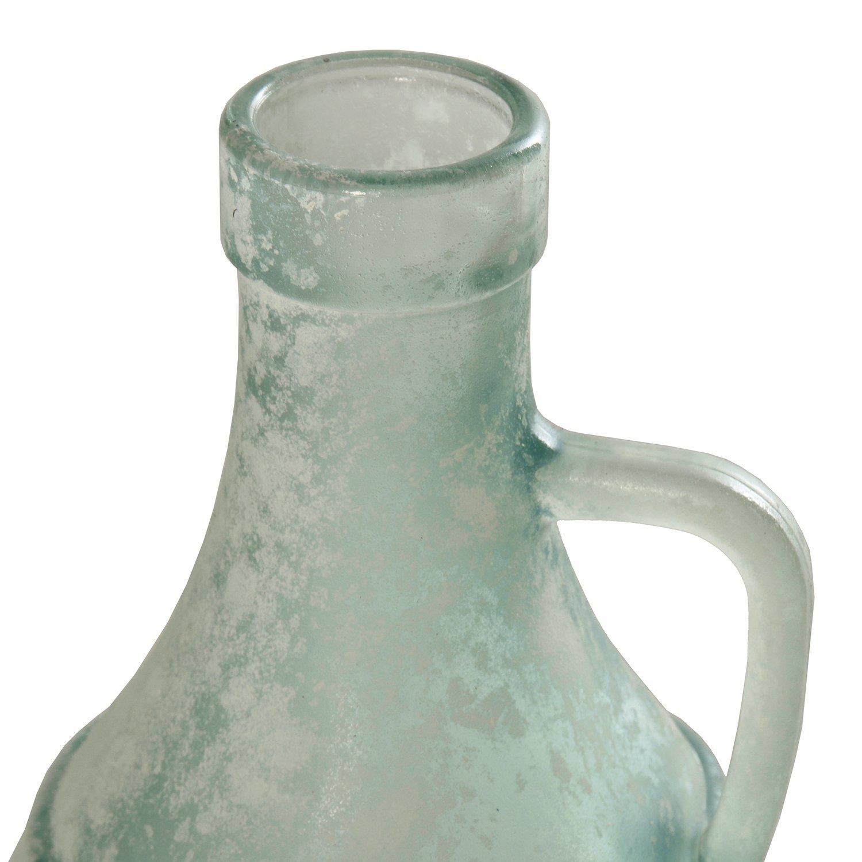 DonRegaloWeb - Botella con asa de vidrio reciclado en blanco verdoso envejecido 13x26cm: Amazon.es: Hogar