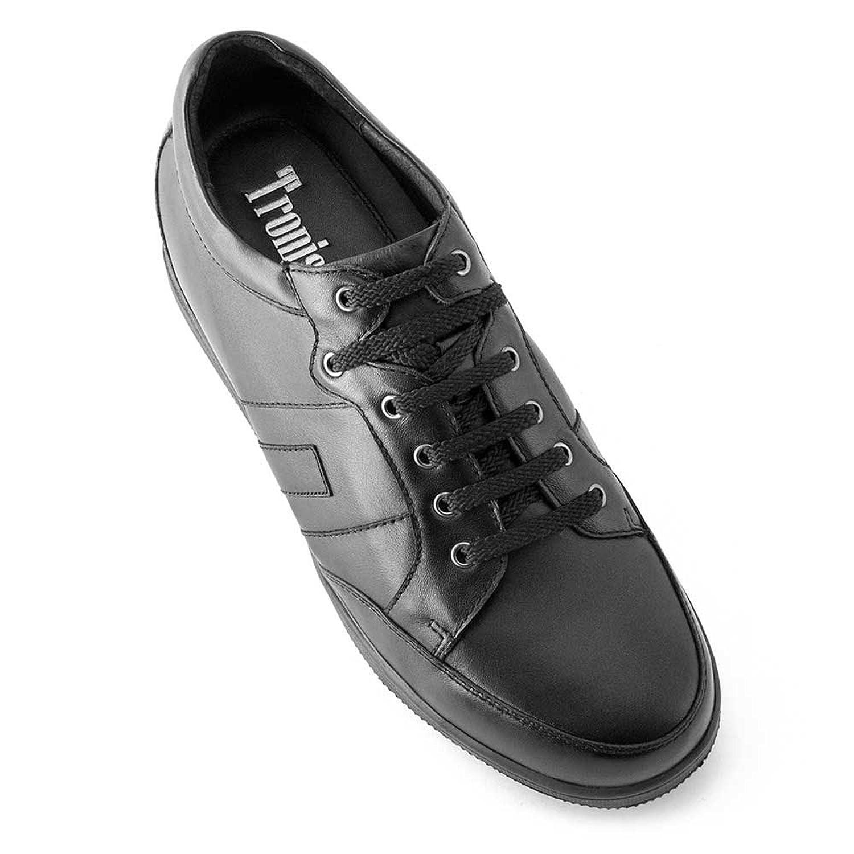 Masaltos Zapatos de Hombre con Alzas Que Aumentan Altura Hasta 7 cm. Fabricados EN Piel. Modelo Ibiza B Negro