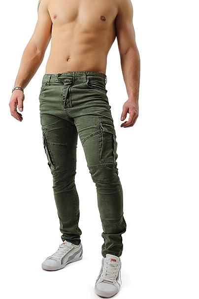 Pantaloni Verde Slim Cargo Uomo Tasche Laterale Tasconi Jeans 7gvbf6yY