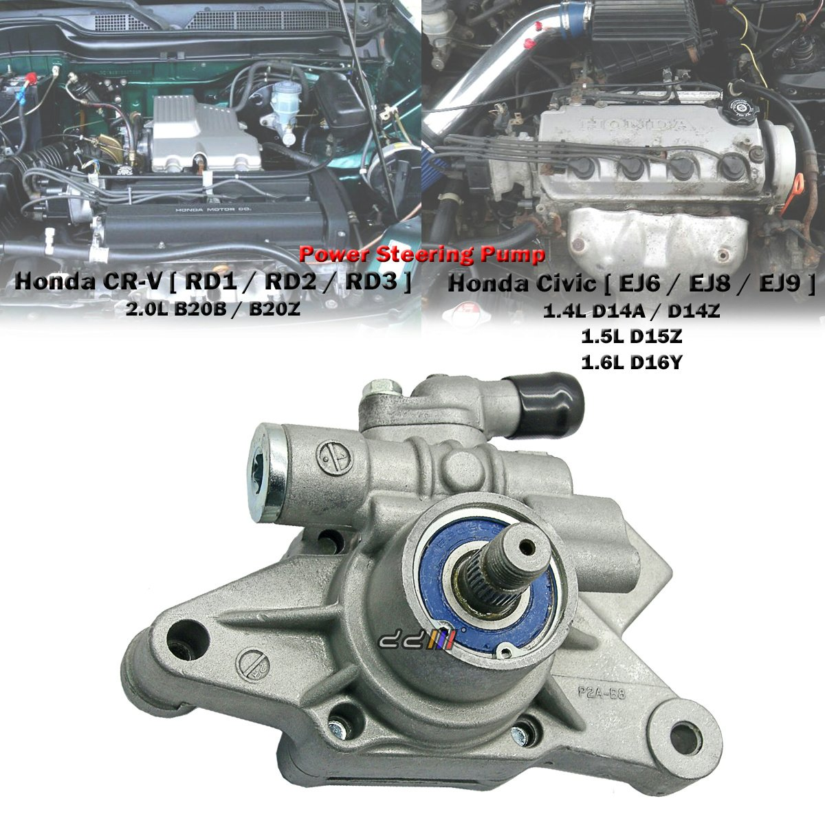 Power Steering Pump For Honda Cr V Crv Rd1 Rd2 Rd3 20l 2001 Parts Discount Factory Oem And B20b B20z 1997 01 Civic Ej6 Ej8 D16y7 D16y8 Acura El 1996 00 Automotive