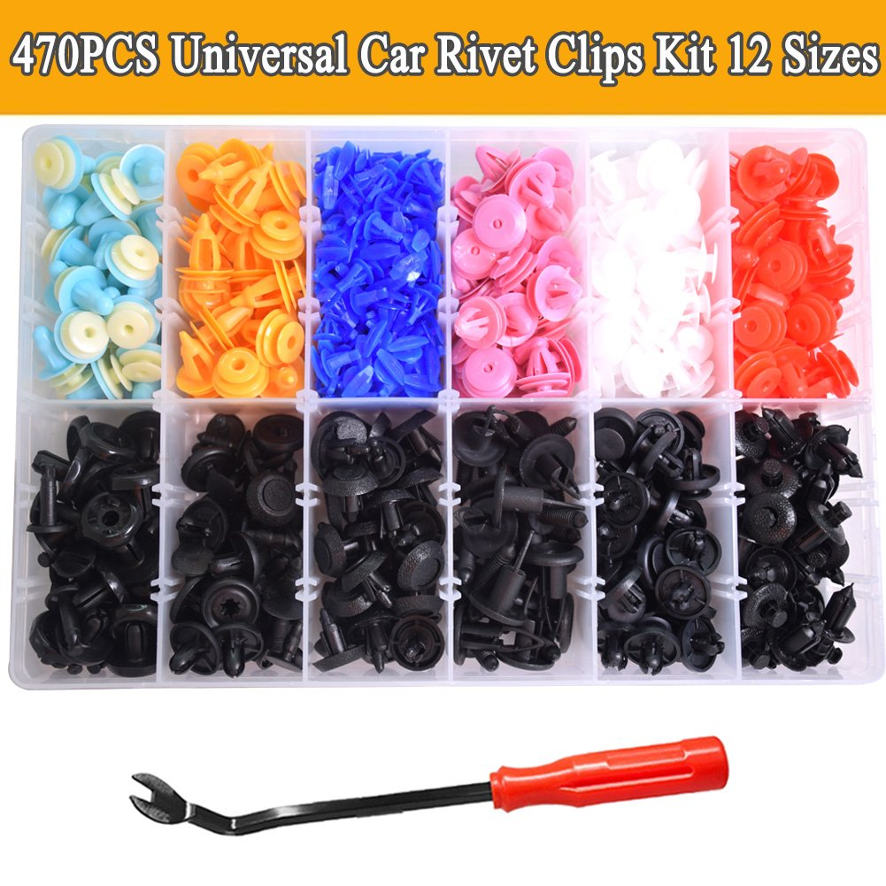 470PCS Automotive Plastic Rivets Kit Push Retainer Kit Fender Trim Clips with Car Trim Molding Removal Tool for Toyota Honda Lexus All car CNIKESIN