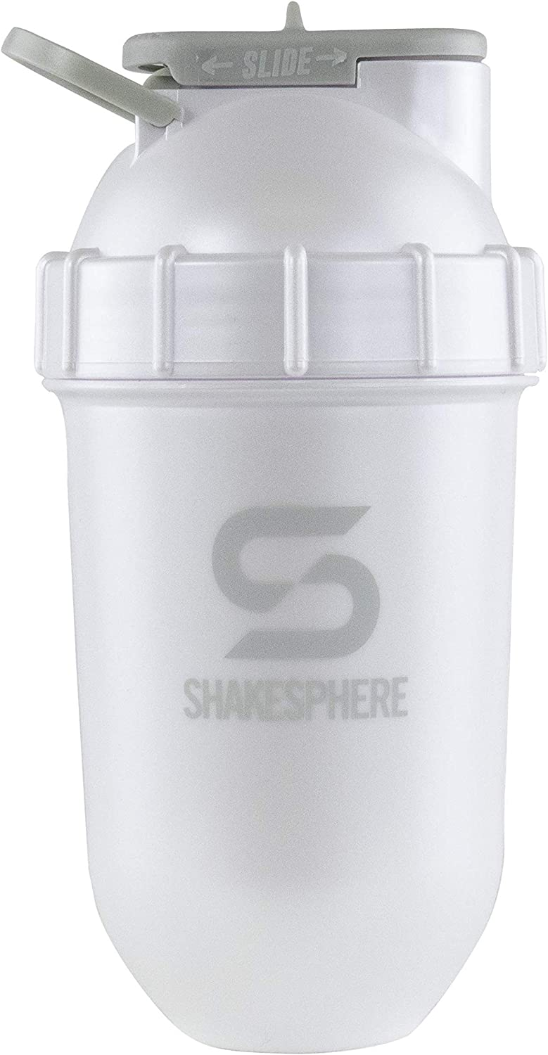 ShakeSphere Tumbler: Award Winning Protein Shaker Cup, 24oz ● Patented Capsule Shape Mixing ● Easy to Clean ● No Blending Ball Needed ● BPA Free ● Mix & Drink Shakes, Protein Powders (Pearl White)