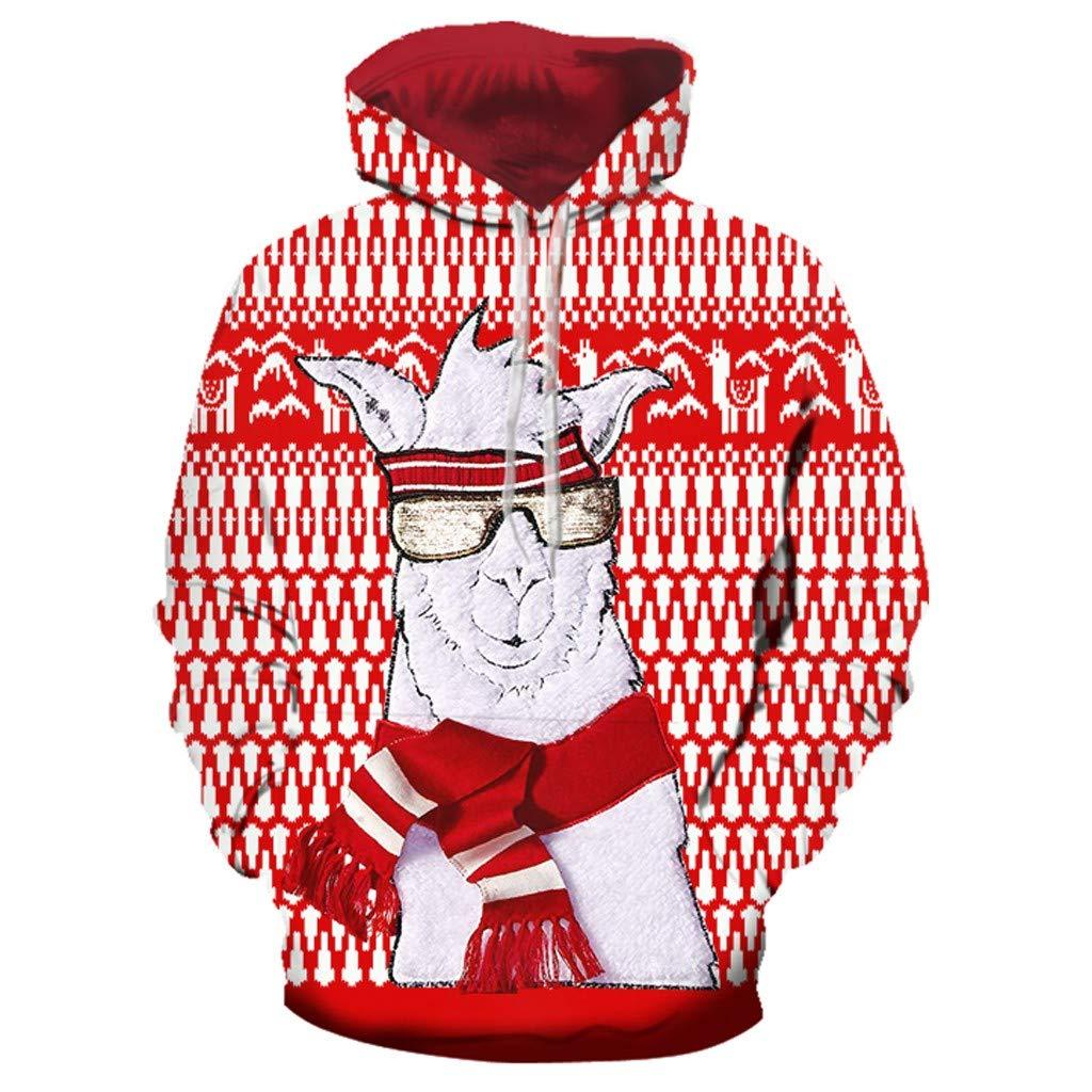 Ningsun Unisex Natale Pullover Donne Uomo Stampa Manica Lunga Felpa con Cappuccio Sweatshirt Natale Stampato Pullover Hoodie Felpa Coulisse Felpe