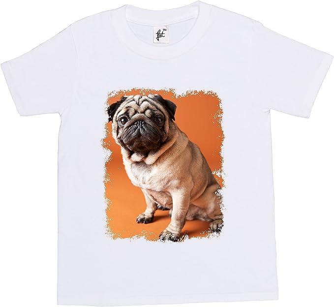 Cute Pug Dog Sitting Kids Boy Girl T-Shirt