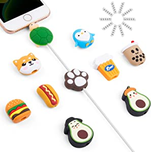 Cute Cable Protector, SUNGUY 20PCS Cable Saver, Fruit Animal Charging Cable Buddies, Cable Protect Sets Compatible for iPhone iPad Charger Cable Only