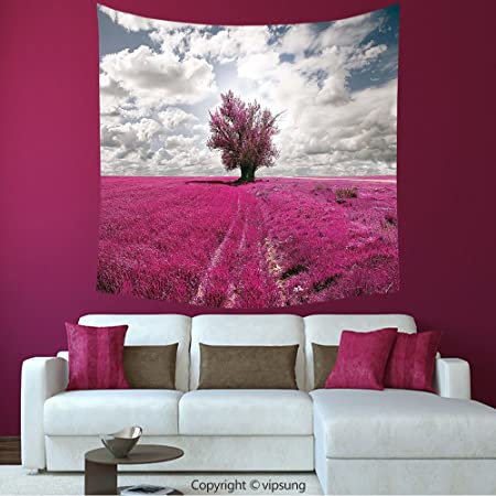 House Decor Square Tapestry-Nature Surreal Enchanted Oniric Meadow ...