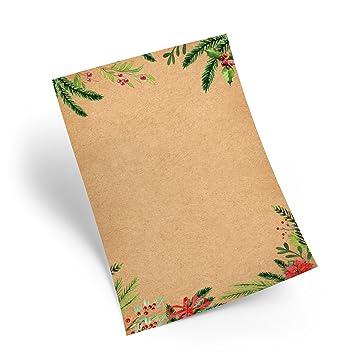 25 hojas de papel Navidad Natural Rojo Verde Papel de carta ...