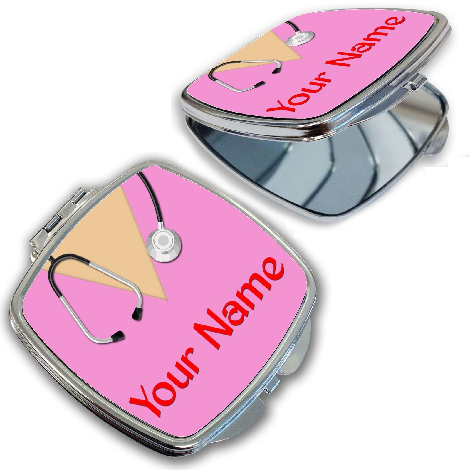 BleuReign(TM) Personalized Custom Name Nurse With Stethoscope Compact Mirror