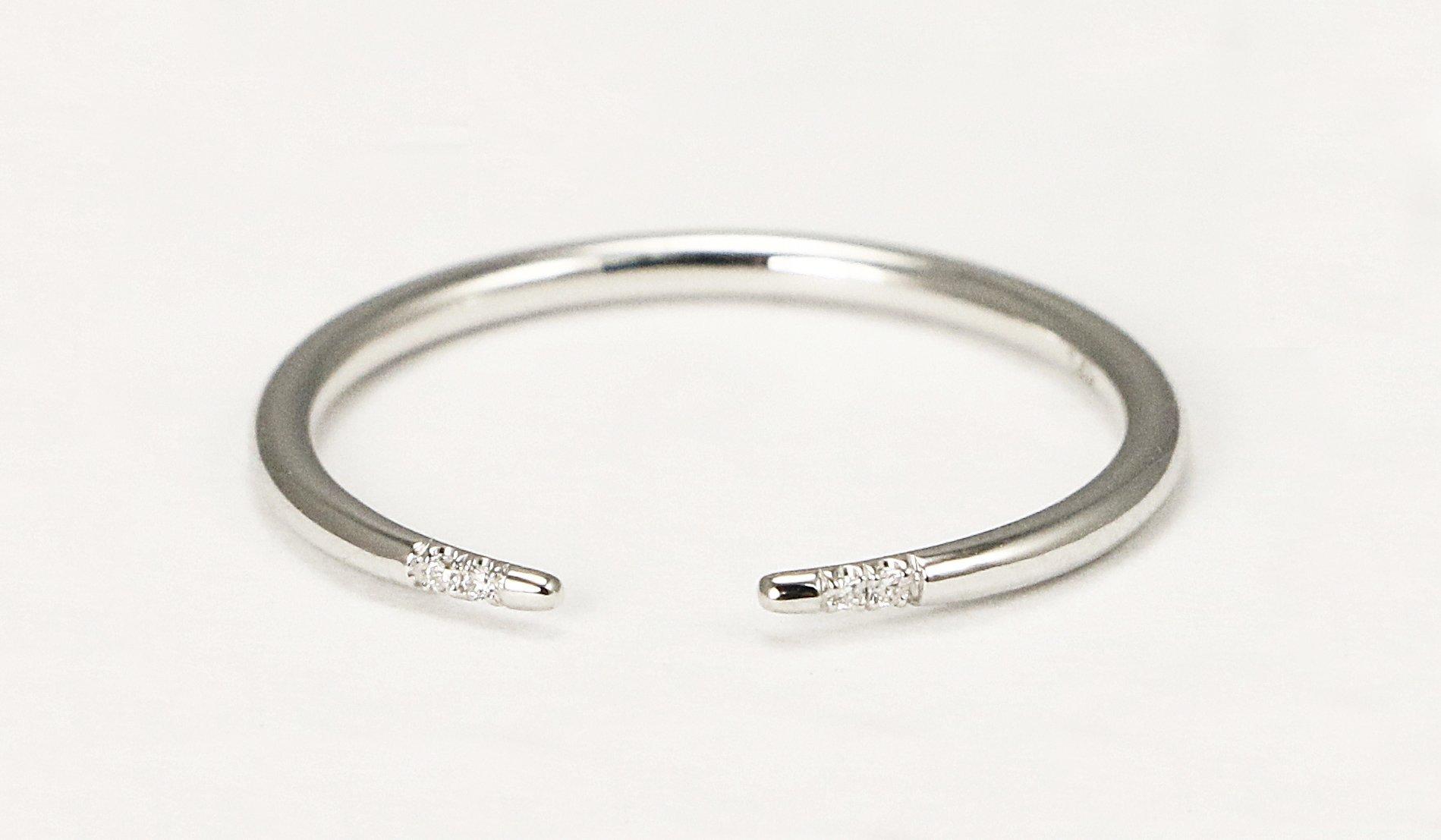 14k White Gold Diamond Wedding Band, White Gold Diamond Stacking Ring