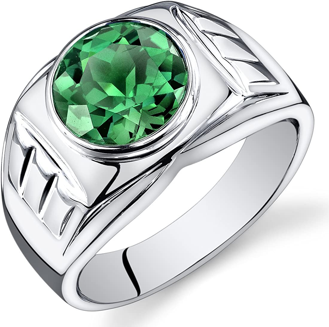 Mens 4.50 Carats Simulated Emerald Ring Sterling Silver Sizes 8 To 13