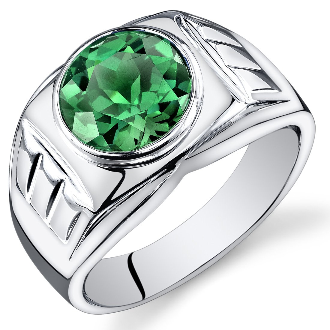 Mens 4.50 Carats Simulated Emerald Ring Sterling Silver Size 10