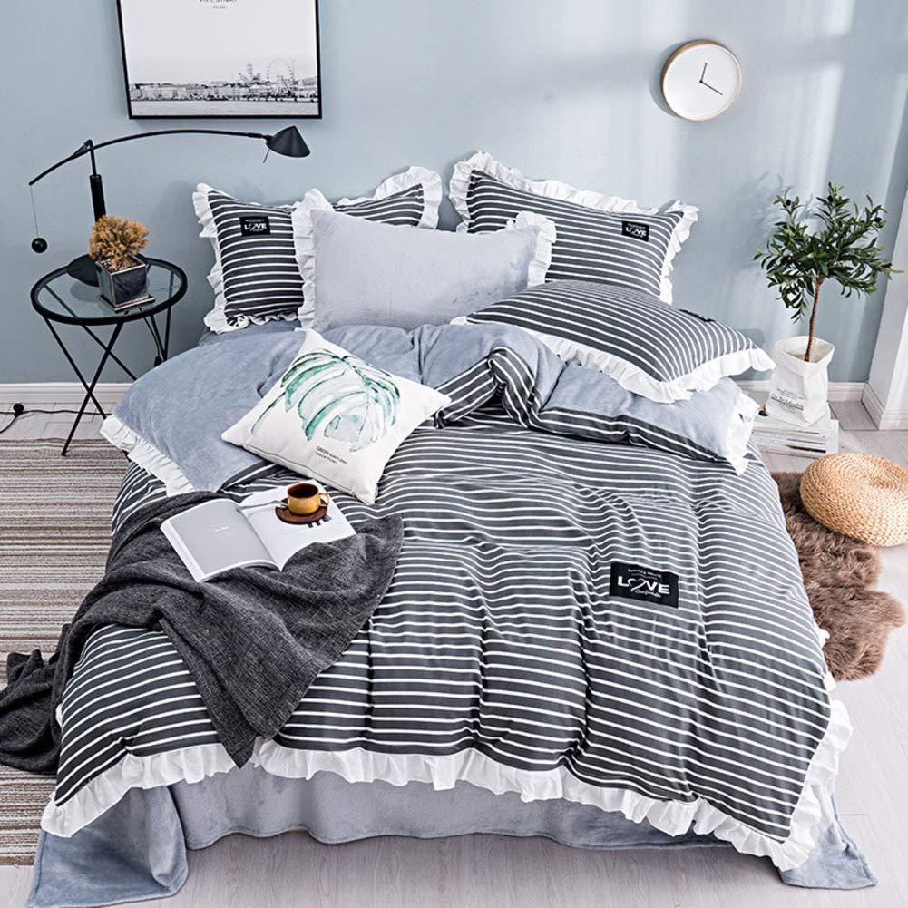 UP&sleep Baumwolle Flanell Duvetabdeckungssatz Gewaschen,Stripe Spitze Frisch Reversible 4 stück Gemütlich Gewaschen Bettbezug Warme Atmungsaktive-Grau 200x230cm(79x91inch)