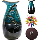 Olerqzer Ceramic Backflow Incense Holder Waterfall Incense Burner, with 30 Backflow Incense Cones Home Office Yoga Aromathera