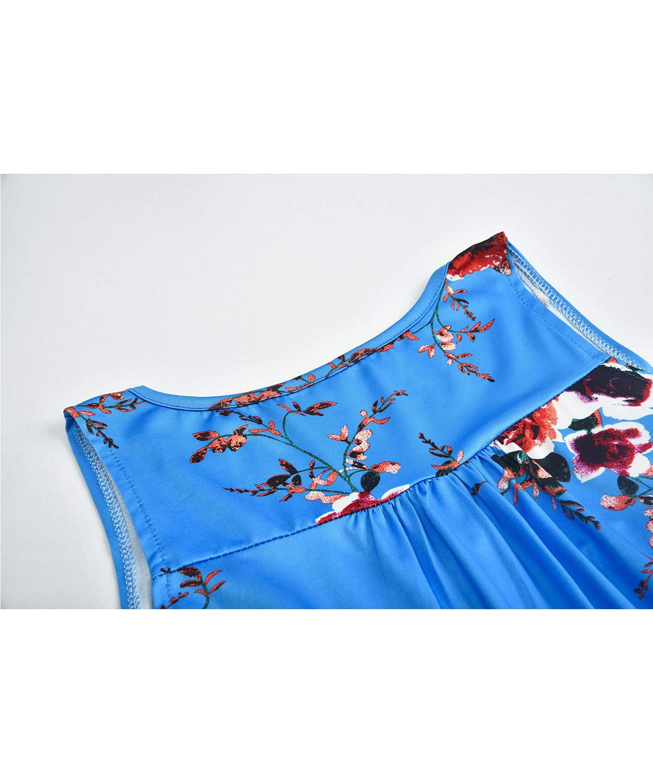 SWAGSTS dam t-shirt sommar rund hals kort ärm lös knapp blus casual tryckt tunika toppar X Ärmelloses Blau