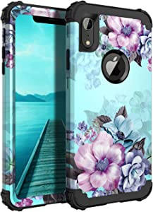 Casetego Compatible with iPhone XR Case,Floral Three Layer Heavy Duty Hybrid Sturdy Shockproof Full Body Protective Cover Case for Apple iPhone XR 6.1 inch,Blue Flower