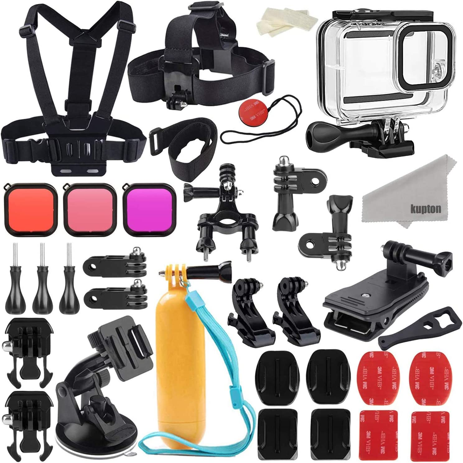 Kupton Accessories Kit Bundle Compatible with GoPro Hero 10 Black,  Waterproof Housing + Filters + Head Chest Strap + Suction Cup Mount + Bike  Mount +