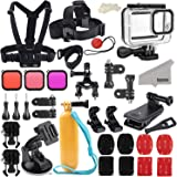 Kupton Accessories Kit Bundle Compatible with GoPro Hero 8 Black, Waterproof Housing + Filters + Head Chest Strap + Suction C