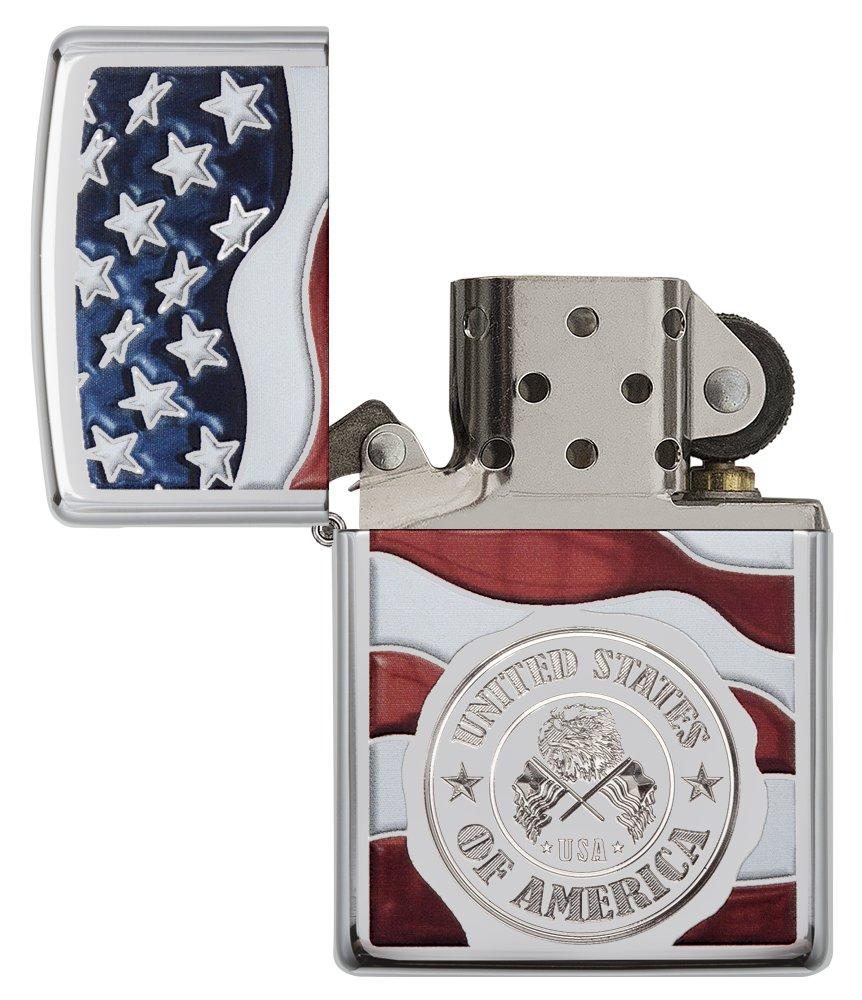 Zippo America Stamp on Flag Pocket Lighter, High Polish Chrome by Zippo (Image #4)