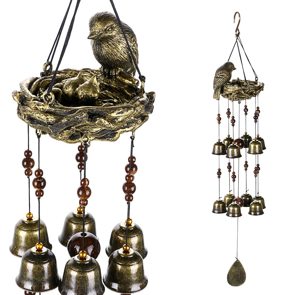 OwnMy Wind Chimes with Birds, Metal Bells Decoration for Outdoor Garden and Home Decor (Birds and Nest)