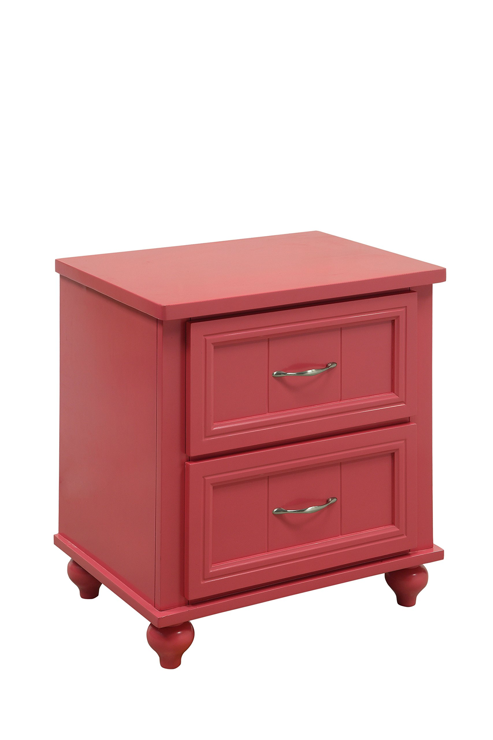 HOMES: Inside + Out Felix Transitional 2-Drawer Nightstand, Pink