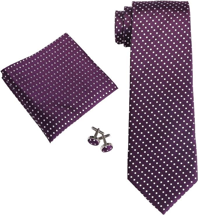 Landisun Varios Lunares para hombre corbata de seda Set: corbata + ...
