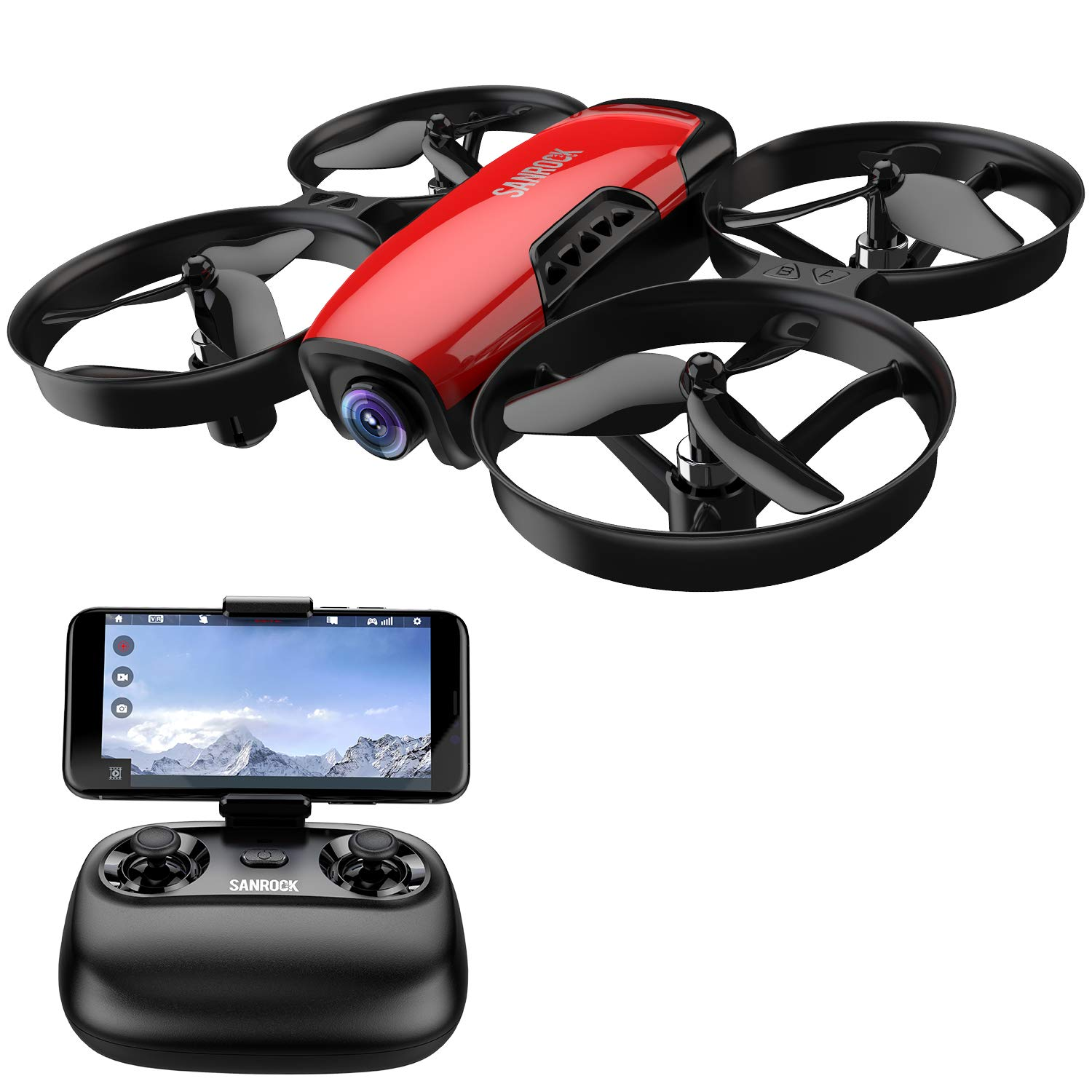 Drone for Kids with Camera, SANROCK U61W FPV Wi-Fi Drone with Camera 720P HD, Intelligent Operation Altitude Hold and Headless Mode, One Button Take Off/Landing, Emergency Stop by SANROCK