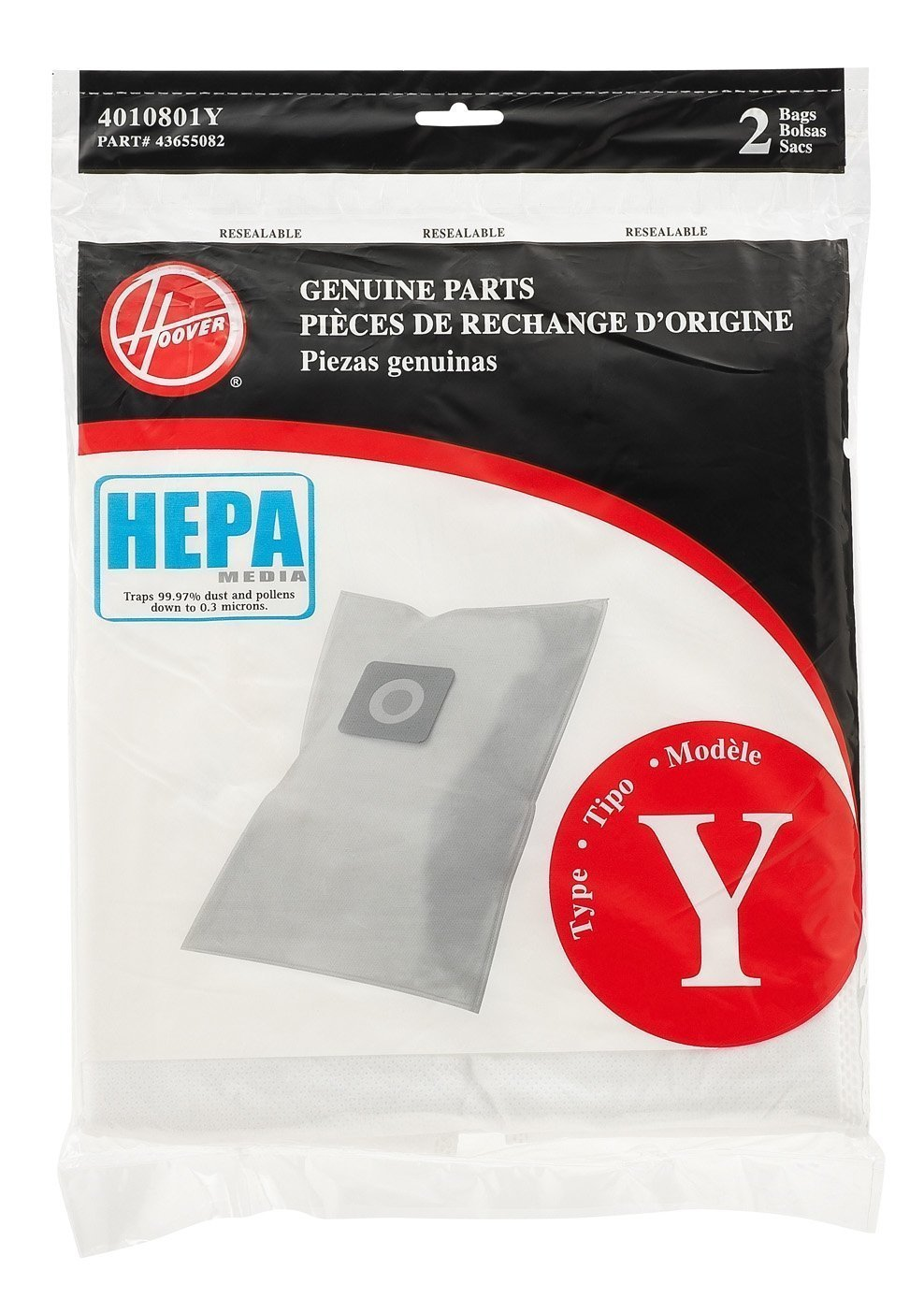 Hoover Type Y HEPA Filter Bag, Set of 6 bags